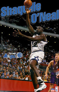 "Shaquille O'Neal ""In the Paint"" Orlando Magic NBA Action Poster - Starline 1995"
