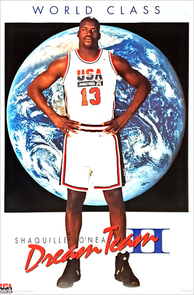 "Shaquille O'Neal ""World Class"" Team USA Dream Team II Poster - Costacos Brothers 1996"
