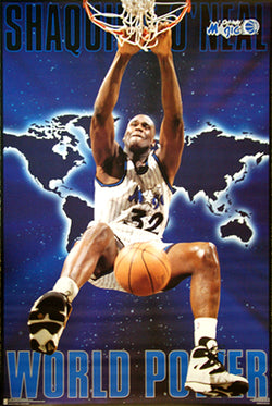 "Shaquille O'Neal ""World Power"" Orlando Magic Poster - Costacos Brothers 1995"