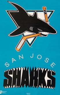 San Jose Sharks Inaugural Year NHL Hockey Team Logo Poster - Norman James Corp. 1991