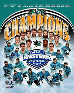 San Jose Sharks 2016 Western Conference Champions 12-Player Commemorative Premium Poster - Photofile