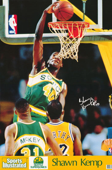"Shawn Kemp ""Rookie Slam"" (1990) Seattle Supersonics Poster - Marketcom/SI"