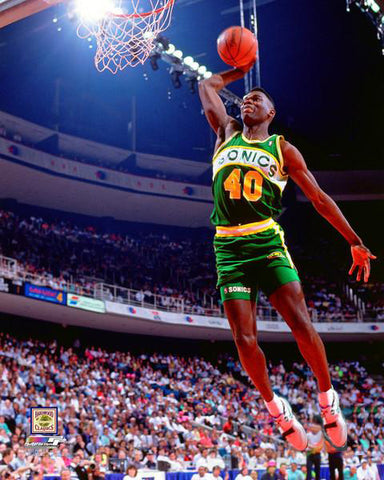 "Shawn Kemp ""Slam Dunk 1990"" Seattle Supersonics Premium NBA Classic Poster Print - Photofile Inc."