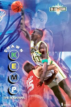 "Shawn Kemp ""The Reign Man"" Seattle Supersonics NBA Basketball Action Poster - Costacos Brothers 1993"