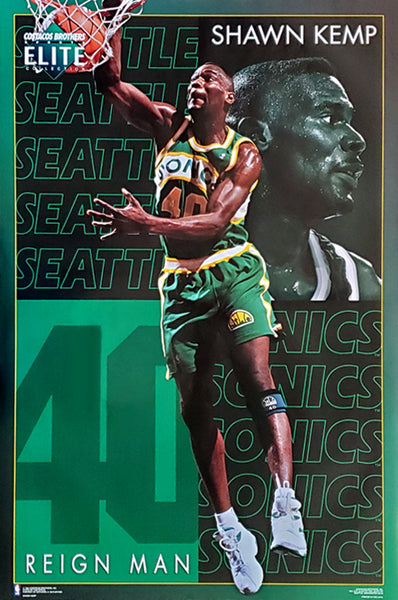 "Shawn Kemp ""Elite"" Seattle Supersonics NBA Basketball Action Poster - Costacos Brothers 1994"