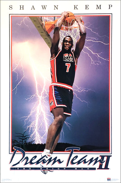 "Shawn Kemp ""Dream Team Slam"" 1994 FIBA Team USA Basketball Poster - Costacos Brothers"