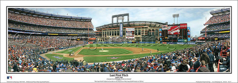 "Shea Stadium ""Last First Pitch"" (April 8, 2008) New York Mets Panoramic Poster Print - Everlasting Images"