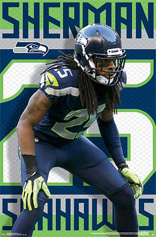 "Richard Sherman ""Shutdown"" Seattle Seahawks Official NFL Poster - Costacos 2014"
