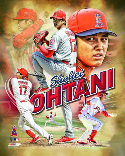 "Shohei Ohtani ""Awesome Angel"" Los Angeles Angels Premium Action Portrait Poster Print - Photofile 16x20"