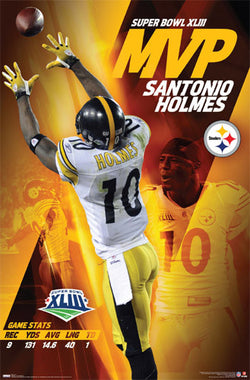 Santonio Holmes Super Bowl XLIII MVP Pittsburgh Steelers Poster - Costacos 2009