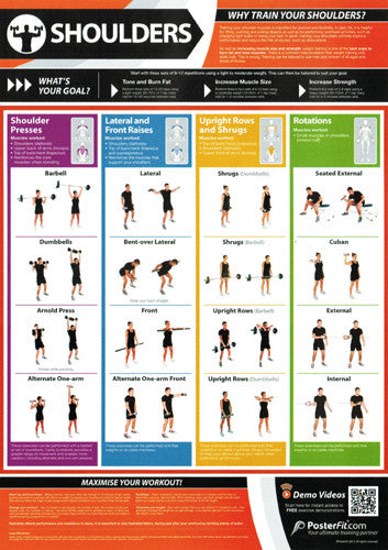 Shoulder Workout Professional Fitness Training Wall Chart Poster (w/QR Code) - PosterFit