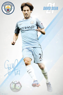 "David Silva ""Signature Series"" Manchester City FC Official EPL Football Poster - GB Eye 2016/17"