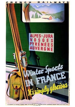 other oversized sports posters tagged vintage skiing art poster