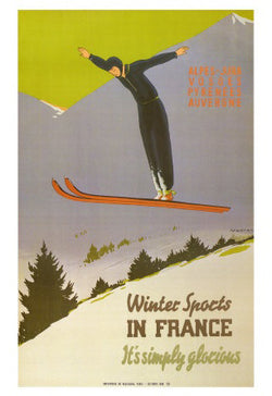 "Skiing ""Soaring Jumper"" French Alps Travel Poster by Jean-Raoul Naurac Large Reproduction Print"