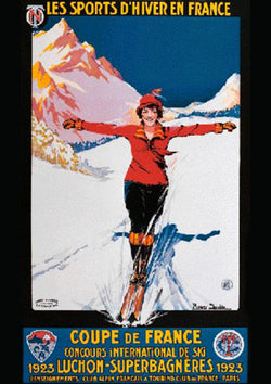 "Skiing ""Coupe de France 1923"" Luchon-Superbagneres Travel Poster  by Roger Soubie Large Reproduction Print"