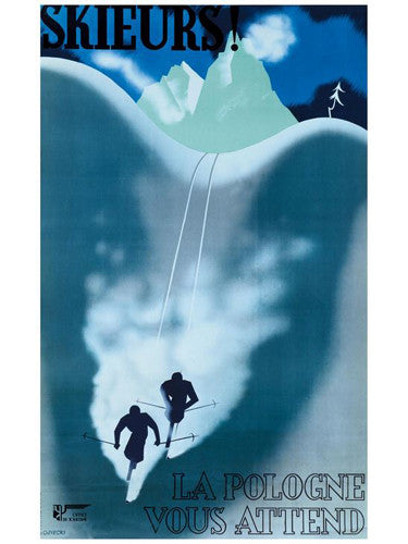 "Skiing ""Poland Awaits"" c.1930 Vintage Travel Poster Giclee Reprint - AAC"