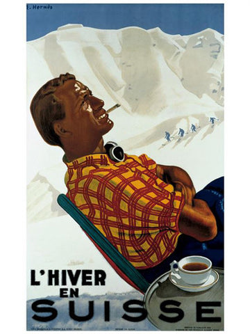 "Skiing ""Winter in Switzerland"" c.1930 Vintage Giclee Poster Print - AAC Inc."