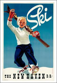 Ski New England (New Haven Railroad) Vintage 1945 Poster Reproduction - A.A.C. Inc.