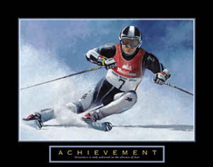 "Downhill Skiing ""Achievement"" Motivational Poster - Front Line"