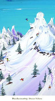 "Skiing ""Backcounrty"" Art Print Poster by Steven Valiere - Bruce McGaw Graphics 2005"