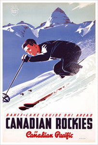 "Banff-Lake Louise ""Ski Racer"" c.1953 CP Travel Poster Reprint - Eurographics"