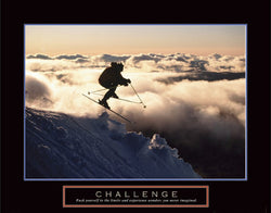 "Skiing ""Challenge"" (Above the Clouds) Motivational Poster - Front Line"