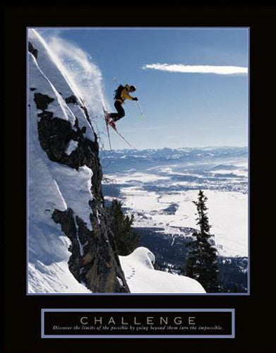 "Extreme Skiing ""Challenge"" Motivational Poster - Front Line"