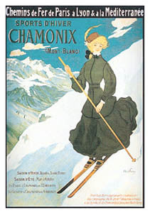 "Skiing ""Chamonix Femme"" (France c.1925) - Clouet Vintage Reprints"