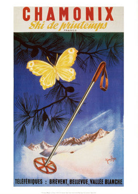 "Vintage Skiing ""Chamonix Papilion"" (Butterfly & Pole) Poster Reprint (Jean Leger c.1951)"