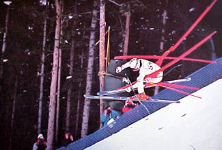 """Race Over"" Downhill Ski Crash - Pomegranate"