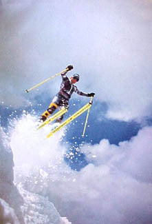 "Skiing ""Serious Air"" Winter Sports Action Poster - Pomegranate Publishing"