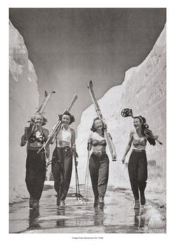 Girls Gone Skiing (Mt. Lassen, CA, 1942) Vintage Poster Reprint - Mountain Chalet