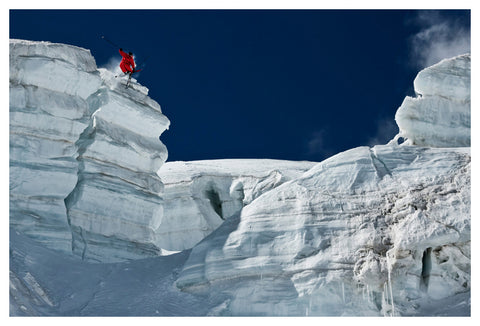 "Skiing Action ""Cliff Jumping"" Glacier Ski Wonderland Premium Poster Print - Eurographics Inc."