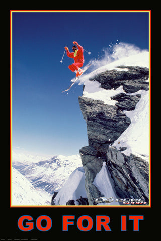 "Skiing Jumping ""Go For It"" Motivational Sports Action Poster - Eurographics Inc."