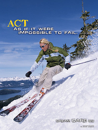 "Skiing ""Act"" Motivational Inspirational Poster - Jaguar Inc."