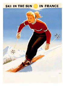 "Classic Skiing ""Ski in the Sun in France"" c.1950 Vintage Poster Reprint - Editions Clouets"