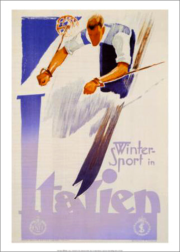 "Italian Skiing ""Winter Sport in Italien"" (c.1935) Vintage Poster Reprint - Editions Clouets"