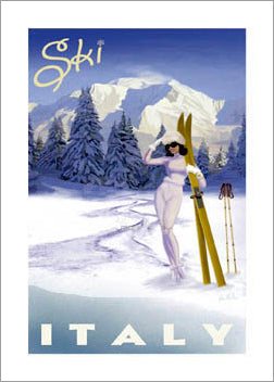 Ski Italy Vintage-Style Skiing Premium Poster Print - Bruce McGaw Graphics