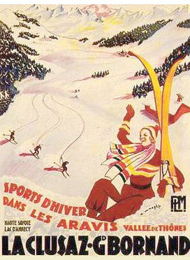 "Skiing ""La Clusaz"" (Savoy, France 1930s) Poster - Clouets Vintage Reprints"