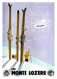 "Vintage Art Deco Skiing ""les Monts Lozere"" (France Alps) Poster - Editions Clouets"