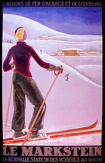 "Clssic Skiing ""Le Markstein"" Vintage Poster Reprint - Bruce McGaw Graphics"