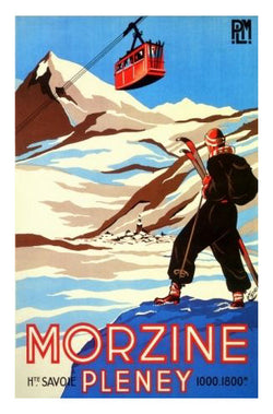 Skiing in France Haute-Savoie Morzine-Pleney Vintage Art Deco Poster Reprint