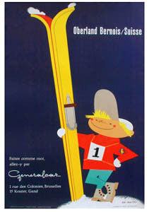 "Oberland Bernois ""Boy Skier"" (c.1956) Switzerland Skiing Vintage Poster Reprint - A.A.C. Inc."