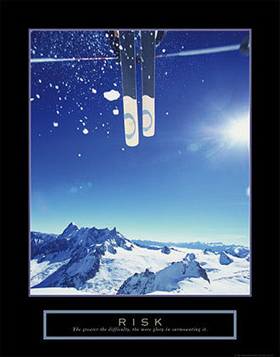"Skiing ""Risk"" Motivational Inspirational Poster - Front Line"