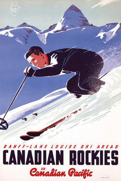 "Banff-Lake Louise ""Ski Racer"" c.1953 CP Travel Poster Reprint (24x36 Edition)- Eurographics"