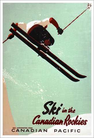 Ski in the Canadian Rockies c.1945 Vintage CP Travel Poster Reprint
