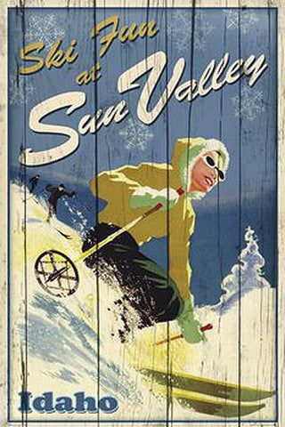 "Skiing Sun Valley, Idaho ""Ski Fun"" Poster Print - Image Source"