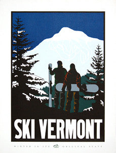 "Ski Vermont ""Winter in its Original State"" Poster Print"