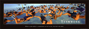 "Skydiving Team ""Teamwork"" Motivational Poster - Front Line 12x36"
