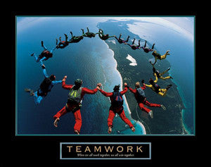 "Skydiving ""Teamwork"" Motivational Poster (15-Man Formation) - Front Line"